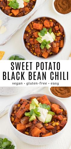 This vegan sweet potato black bean chili is comforting satisfying and incredibly delicious! Enjoy this warm and cozy dinner recipe topped with vegan sour cream avocado and tortilla chips. It's an easy and healthy dinner filled with wholesome ingredients! Easy Vegan Dinner, Vegan Dinner Recipes, Vegan Dinners, Vegetarian Recipes, Healthy Recipes, Vegan Vegetarian, Vegan Crockpot Recipes, Bean Recipes, Chili Recipes