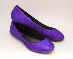 Women's Sparkly Purple Glitter Ballet Flats Wedding Bride Princess Prom Shoes