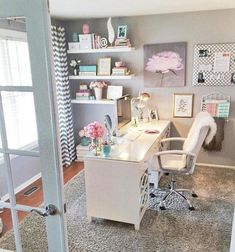 Home office decor inspiration for feminine office in white, gray and pastels Hi-Light Task Lamp Home Office Design, Home Office Decor, Diy Home Decor, Office Ideas, Office Lamp, Office Lighting, Office Style, Feminine Office Decor, Office Designs