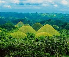 Chocolate Hills in Bohol Philippines. They're brown during the dry season but become green during the rainy season.