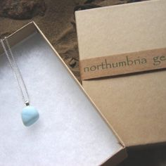 Small Pastel Blue Northumbrian Sea Glass Necklace by Northumbria Gems, jewellery made in the north east of England, United Kingdom.