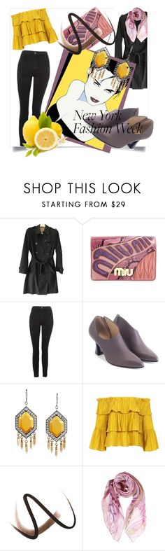 """""""What to Wear to NYFW"""" by kari-c ❤ liked on Polyvore featuring Burberry, Miu Miu, Topshop, John Fluevog, Sans Souci and NYFW"""