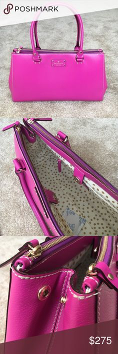 """KATE SPADE Handbag ❤️♠️ BEAUTIFUL magenta color. Snap closure. Snaps on side allow expansion. Each long side is also a pocket with zipper on top. TONS of room! Used a few times but you would never know! I also will include the storage bag  Length 16"""" Width 6"""" Height 8"""" kate spade Bags"""