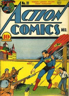 Action Comics - Dec 1940 - cover by Joe Shuster Dc Comic Books, Vintage Comic Books, Comic Book Covers, Comic Book Characters, Vintage Comics, Batman Superman Comic, Superman Action Comics, Children's Comics, Superman Stuff
