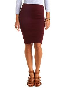 High-Waisted Bodycon Bandage Pencil Skirt: Charlotte Russe