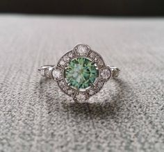 "Estate Halo Blue Green Moissanite Diamond Antique Engagement Ring Victorian Art Deco Mint Edwardian White Gold ""The Charlotte"" – Art Deco Engagement Ring Antique Rings, Vintage Rings, Antique Jewelry, Silver Jewelry, Vintage Jewelry, Antique Art, Silver Ring, Dainty Jewelry, Vintage Brooches"