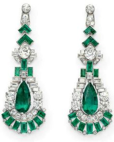OMG!  Emerald and Diamond Earrings,  1925, Christie's