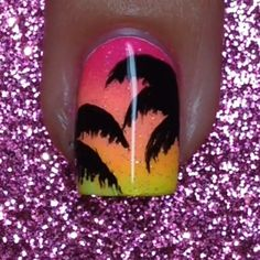 """Tutorial for today's tropical nails inspired by the lovely Start with a totally dry white base Paint pink, orange, and yellow…"" Beach Nail Art, Beach Nails, Makeup Sponge, Design Tutorials, Summer Nails, You Nailed It, Nail Art Designs, Manicure, At Least"