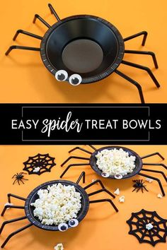 This is the easiest and cutest Halloween craft! Plastic bowls and straw with a bit of hot glue and your favorite treat make these perfect for Halloween parties. Best Picture For diy halloween disfraz Comida De Halloween Ideas, Halloween Food For Party, Diy Halloween Decorations, Holidays Halloween, Spooky Halloween, Easy Halloween Crafts, Halloween Recipe, Halloween Costumes, Halloween College