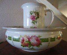 Antique F s Sons Burslem England Wash Bowl Pitcher Set Art Deco Roses   eBay