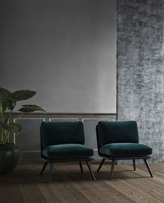 Dark green velvet lounge chairs/ Bemz x Designers Guild dark green Viridian covers for IKEA furniture