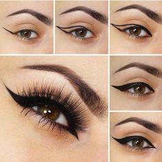 The ultimate wing eyeliner tutorial. Day Makeup, Makeup Tips, Beauty Makeup, Makeup Looks, Makeup Tutorials, Makeup Ideas, How To Do Eyeshadow, Eyeshadow Makeup, Makeup Brushes