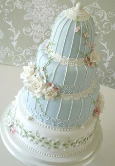 Blue version of the Birdcage Cake by Rachelle's Cakes