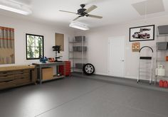 2020 Garage Updates You Can Do While Quarantined– Hunter Fan Garage Ceiling Fan, Garage Walls, Red Walls, Yellow Walls, Cleaning Concrete Floors, Garage Paint Colors, Ceiling Fan Direction, Carport Canopy, Finished Garage