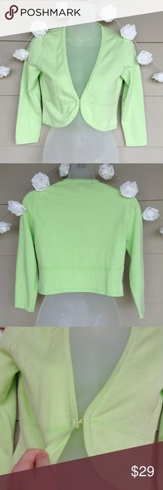 !!REDUCED!!Lilly Pulitzer: Bright Green Cardigan Lilly Pulitzer : Green Cropped Cardigan   --Size: XS --In great condition! --Beautiful bright green color. Mini/Cropped style. Hook closure at front as shown.  --Measurements: 16in(Long) / 16in(Bust) / 17.75(Sleeve length)  --100% Cotton  ??Questions??-- Please ask! Lilly Pulitzer Tops