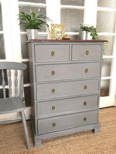 For sale a solid wood Mark & Spencer chest of drawers in a good used condition. Painted in chalk pai