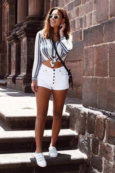 short branco camisa lsitra