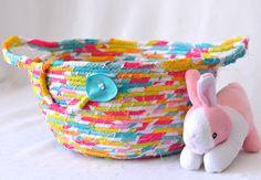 Elegant Easter Basket, Easter Candy Bowl, Handmade Fabric Basket, Pink Wedding Basket, Pink Candy Bowl, Easter Decoration by WexfordTreasures on Etsy