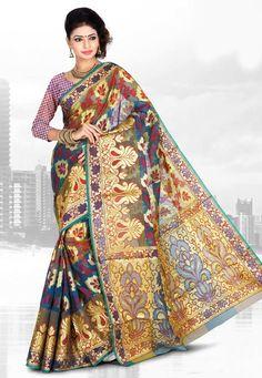 Teal Blue Art Banarasi Jacquard Silk Saree with Blouse