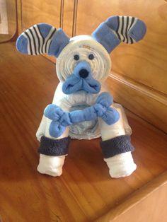 Diaper Puppy, Diaper Dog, Baby Shower Centerpiece, Diaper Animal, Diaper Gift, Puppy Baby Shower