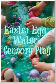water play with plastic Easter eggs