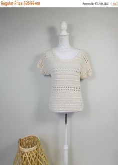 50% OFF SHOP HOME Vintage 90s Cream Holey Textured Crochet Knit Stretch Minimal Thin Scoop Neck Short Sleeve Sweater Top Shirt Sz Medium by WearingMeOutVtg on Etsy Vintage Hippie, Button Down Collar, Shirt Blouses, Minimal, Scoop Neck, Texture, Cream, Knitting, Tricot