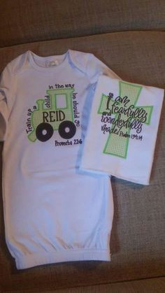 Newborn gown. Coming home outfit. Scripture. Train up a child. Fearfully and wonderfully made. Embroidery. Braylee's Sew Sweet Boutique.