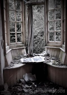 Desaturated Window...Abandoned Manor House...Such a Waste