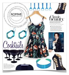 """""""Cocktail night"""" by giampourasjewel ❤ liked on Polyvore featuring Giuseppe Zanotti, GE, Jeffrey Levinson, floral, Flowers, romwe, floralprint and brunchgoals"""