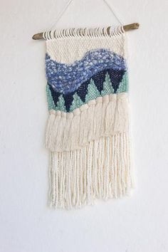 Waves of Blue Woven Wall Hanging Tapestry Weaving