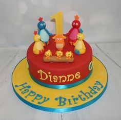 theme cake - cakes -Twirlywoos theme cake - cakes - Box of Chocolates Cake - This gorgeous cake is two treats in one—a chocolate cake filled with strawberry buttercream, plus gourmet chocolates on top! Avengers Birthday Cakes, First Birthday Cakes, 2nd Birthday, Birthday Ideas, Twirlywoos Cake, Cupcake Cakes, Cbeebies Cake, Captain America Birthday Cake, Cupcake