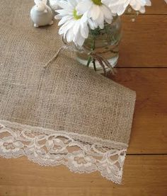 some great burlap and lace tablerunners and other ideas