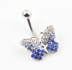 Cute blue and white butterfly belly bar. From Amazon