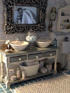 Dollhouse Mini Furniture Bathroom Cabinet Washbasin Model Landscape Toy H/&