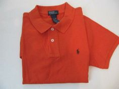 Polo By Ralph Lauren Boy's Classic-fit Polo Large (14-16), Orange 100 % Cotton. Pony On Front. Machine Wash.  #RALPH_LAUREN #Apparel