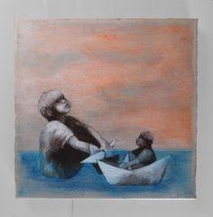 Acrylmalerei auf Leinwand: Zwei im boot  von theodora auf DaWanda.com