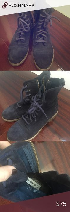 Steve Madden navy suede combat boots Used gently. Size 7.5. Navy side combat boots by Steve Madden. Steve Madden Shoes Combat & Moto Boots