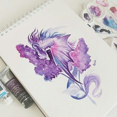 Lilac dragon watercolor painting from video in my previous post🌸 dragon dragons lilac painting🎨 Fantasy Drawings, Cool Art Drawings, Art Drawings Sketches, Fantasy Art, Cute Dragon Drawing, Dragon Sketch, Dragon Drawings, Cute Fantasy Creatures, Mythical Creatures Art