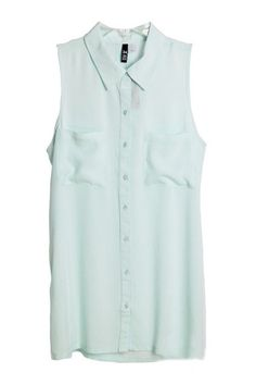 T-shirt crafted in rayon, featuring turndown collar, sleeveless styling, button through closure, all in loose fit. T Shirt Vest, Summer Blouses, Cheap Clothes, Business Fashion, Dress Codes, Jumpers, At Least, Women Wear, Style Inspiration