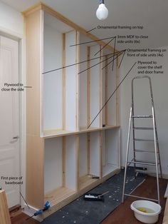 Full height built-in bookcase from IVAR units