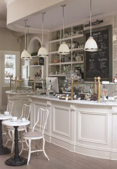Attractive Small Coffee Shop Design & 50 Best Decor Ideas - Page 26 of 54 Bakery Decor, Bakery Interior, Coffee Shop Interior Design, Coffee Shop Design, Coffee Shop Interiors, Pastry Shop Interior, Cake Shop Interior, Bistro Interior, Pub Decor