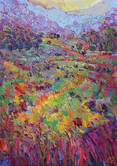 Explore the Central Coast of California through the artwork of Erin Hanson. The refracted dawn lights the wispy grass into a prismatic rainbow of color.