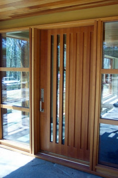 Glass and wood front doors modern entry design pictures remodel decor ideas intended for 6 Entry Doors With Glass, Wood Front Doors, Front Door Entrance, House Front Door, Glass Front Door, Wooden Doors, Front Entry, House Doors, Window Glass