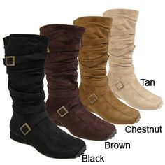 @Overstock - Scrunchy mid-calf boots are a must-have  Glaze by Adi mid-calf boots feature scrunched shaft with strap and buckles  Boots feature one inch heelhttp://www.overstock.com/Clothing-Shoes/Glaze-by-Adi-Microsuede-Flat-Mid-Calf-Boots/2878018/product.html?CID=214117 $22.01