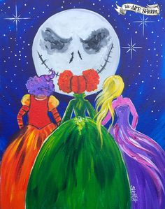 Jack Skellington  Meets With The Sanderson Sisters Acrylic Painting