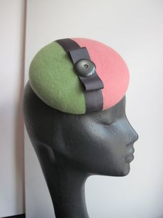 Womens Light Green and Pink Wool Cocktail Hat with Bow