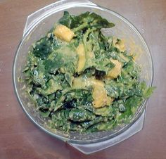 Spinach salad with Mango Dressing.