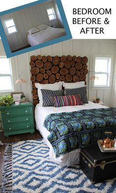 I like everything but the headboard. I like the wood, just not in this application. The rest of the bed is dreamy and that rug! Oh!