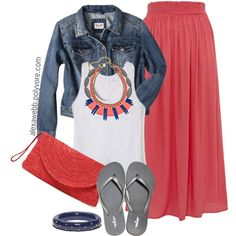 """Plus Size - Summer Coral Skirt"" by alexawebb on Polyvore"