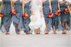 Virginia wedding photographer Morais Vineyard //these colors work great! #bridesmaids #bridalparty
